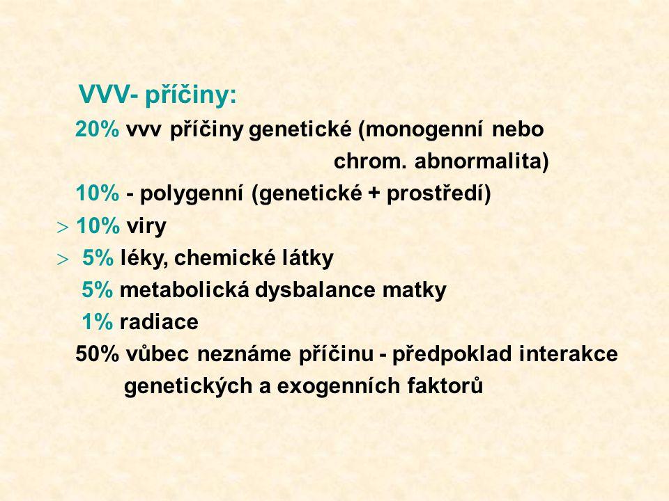 VVV- příčiny: 20% vvv příčiny genetické (monogenní nebo