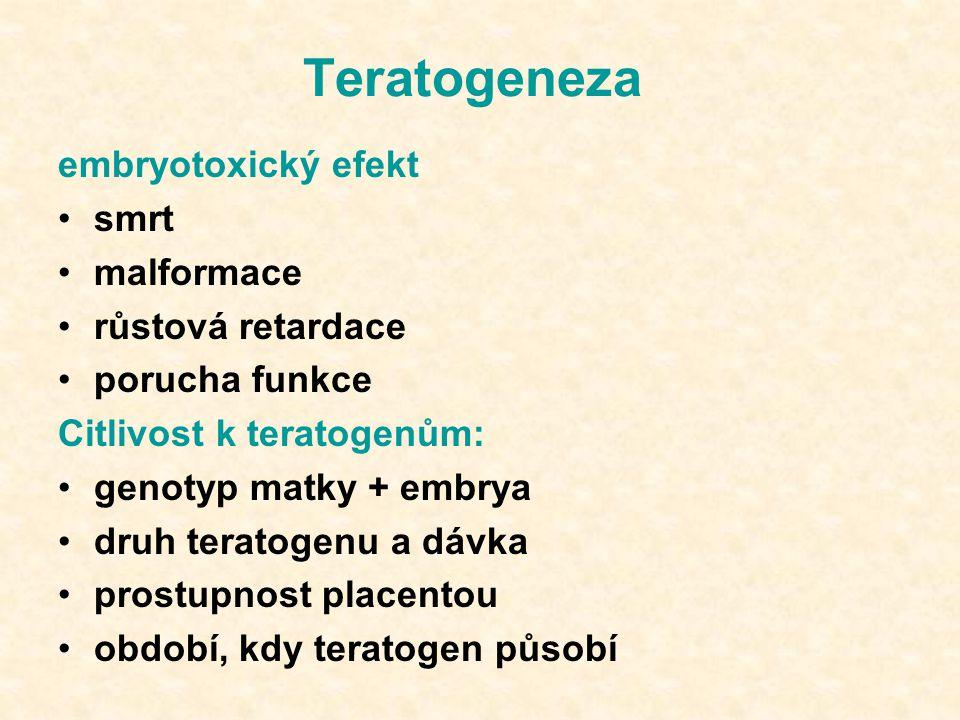 Teratogeneza embryotoxický efekt smrt malformace růstová retardace
