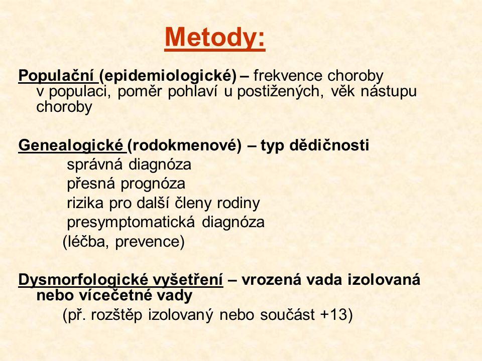 Metody: Populační (epidemiologické) – frekvence choroby v populaci, poměr pohlaví u postižených, věk nástupu choroby.