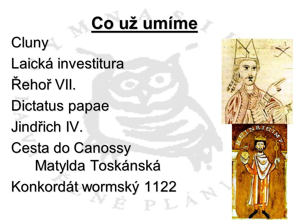 Co už umíme Cluny Laická investitura Řehoř VII. Dictatus papae Jindřich IV.
