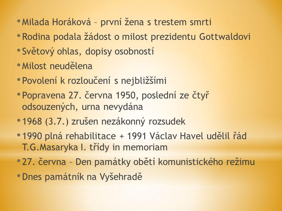 Milada Horáková – první žena s trestem smrti