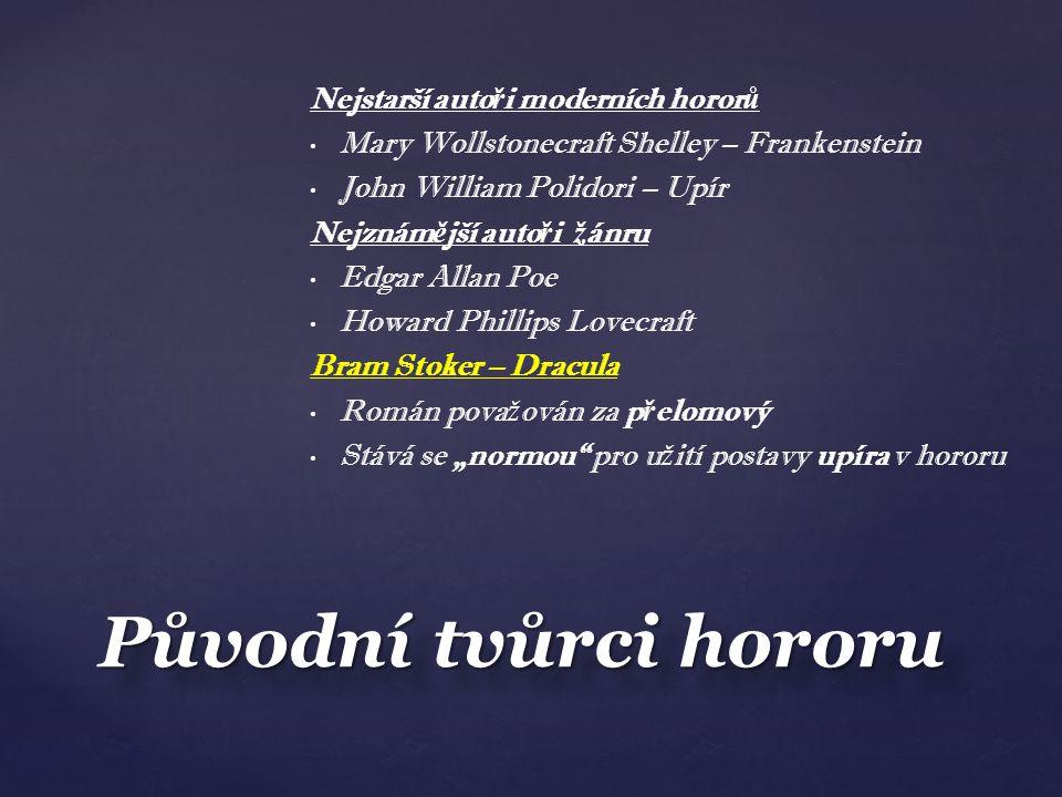 Původní tvůrci hororu Nejstarší autoři moderních hororů