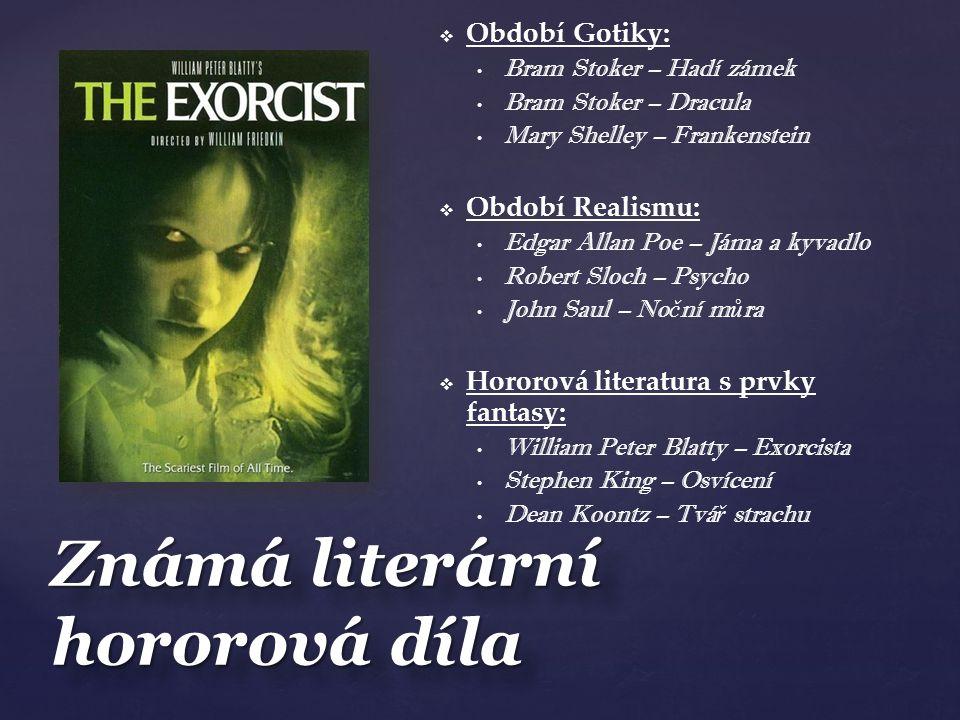 Známá literární hororová díla