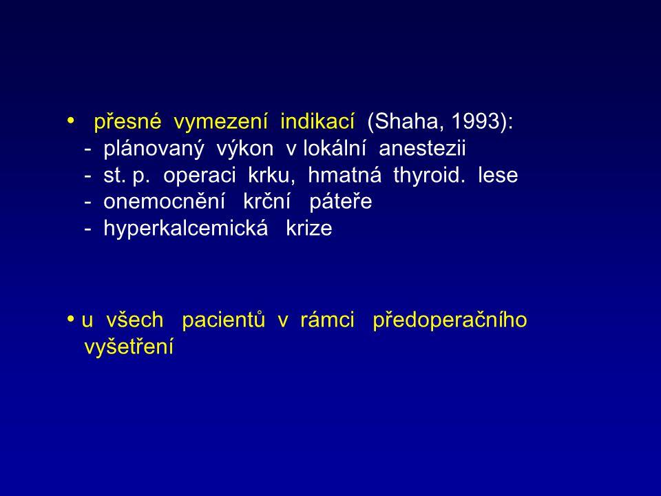 přesné vymezení indikací (Shaha, 1993):