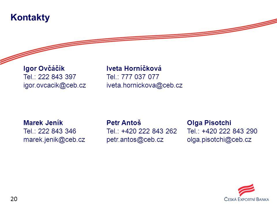 Kontakty Igor Ovčáčík Tel.: 222 843 397 igor.ovcacik@ceb.cz