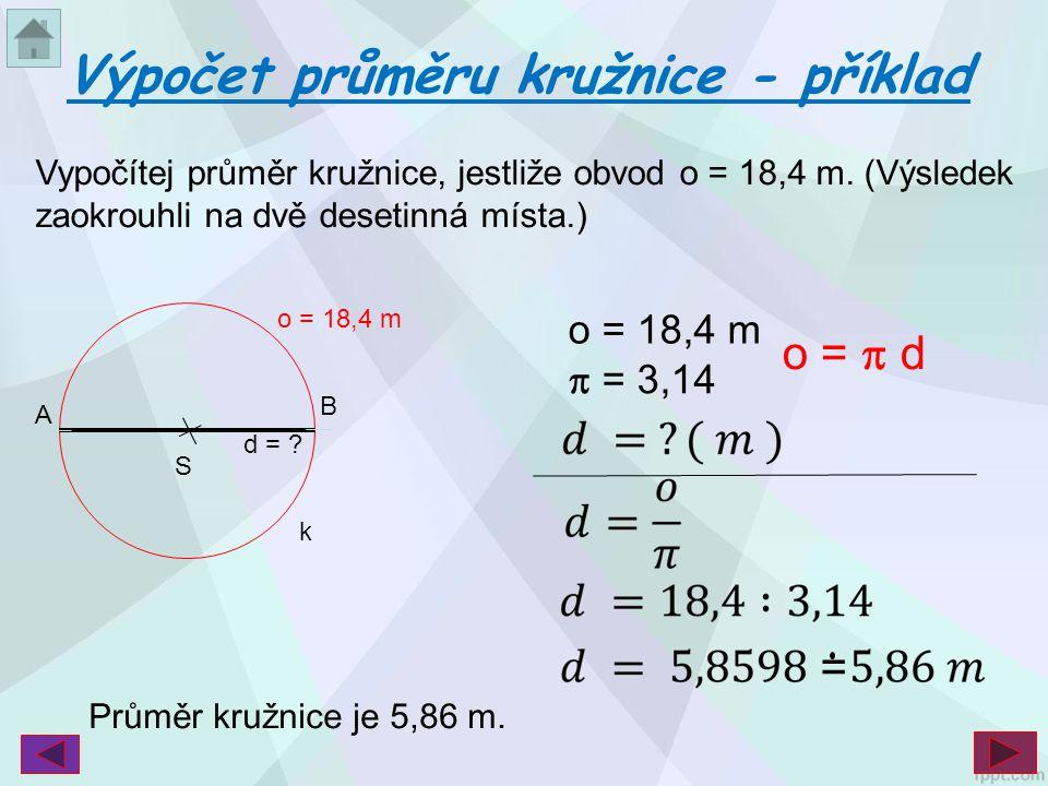 Výpočet průměru kružnice - příklad