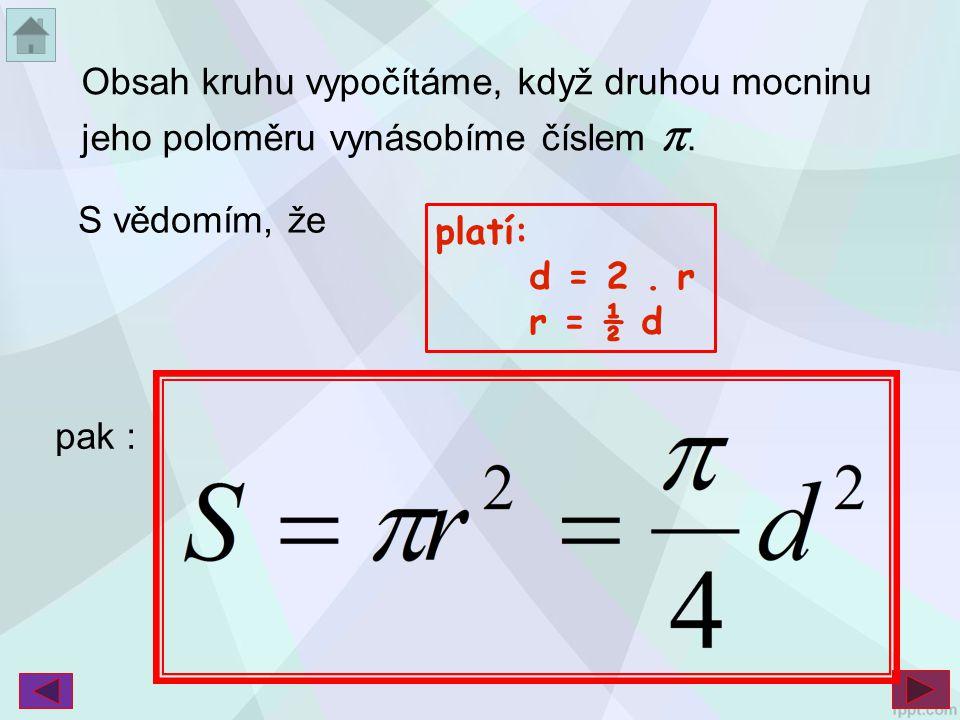Obsah kruhu vypočítáme, když druhou mocninu jeho poloměru vynásobíme číslem .