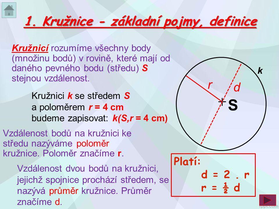 S 1. Kružnice - základní pojmy, definice r d Platí: d = 2 . r r = ½ d