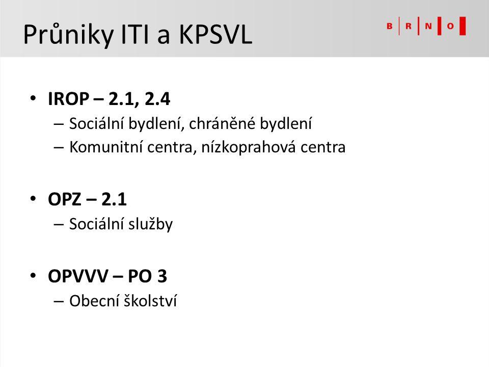 Průniky ITI a KPSVL IROP – 2.1, 2.4 OPZ – 2.1 OPVVV – PO 3