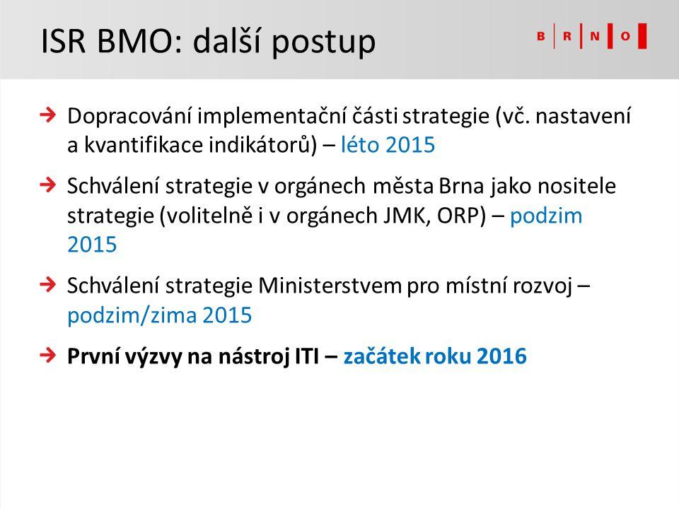 ISR BMO: další postup Dopracování implementační části strategie (vč. nastavení a kvantifikace indikátorů) – léto 2015.
