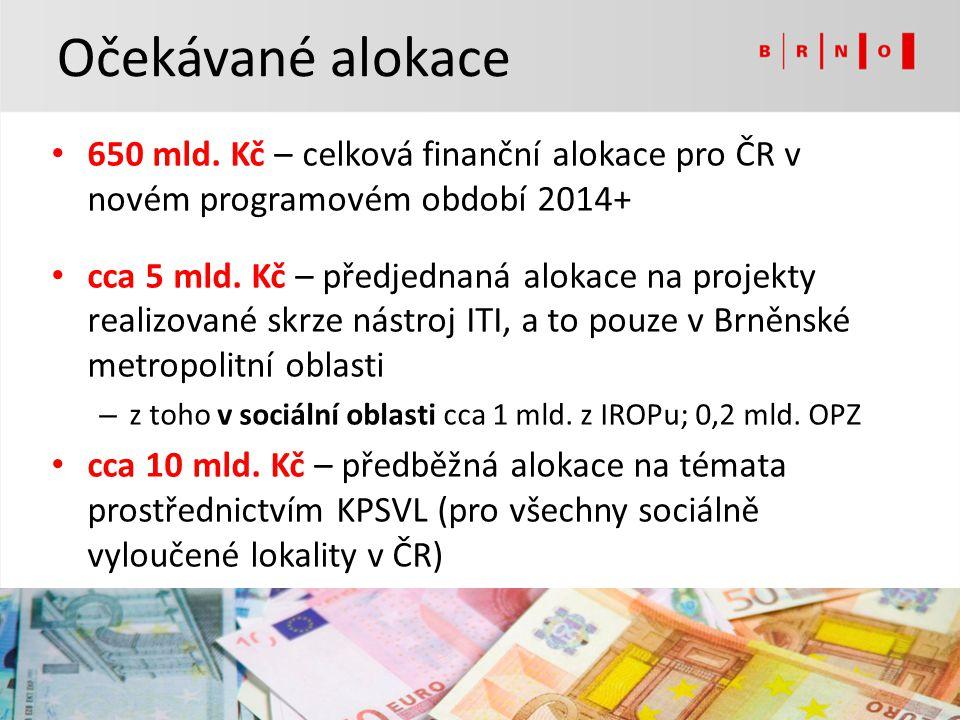 Očekávané alokace 650 mld. Kč – celková finanční alokace pro ČR v novém programovém období 2014+