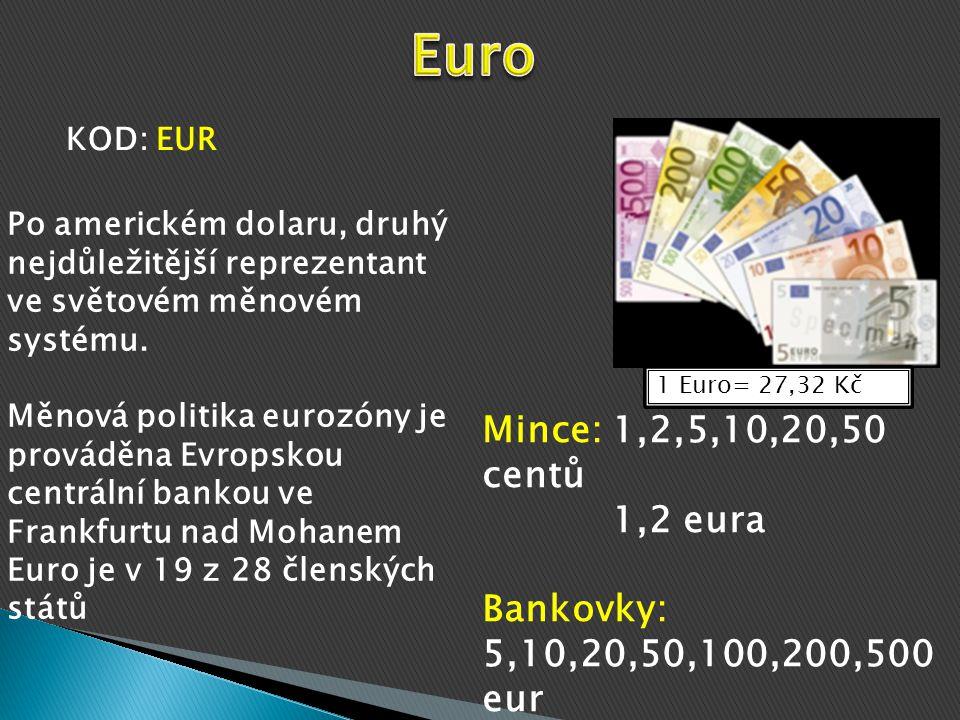 Euro KOD: EUR. Po americkém dolaru, druhý nejdůležitější reprezentant ve světovém měnovém systému.