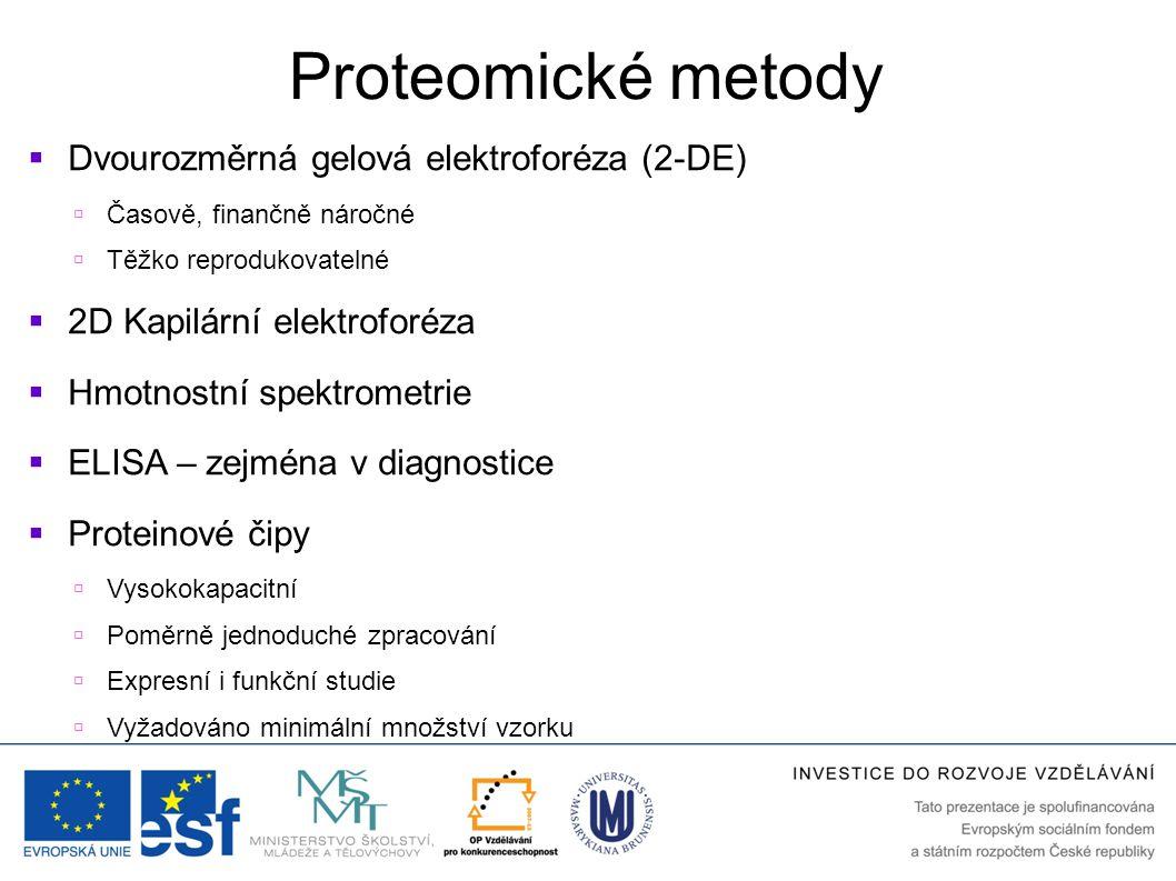 Proteomické metody Dvourozměrná gelová elektroforéza (2-DE)