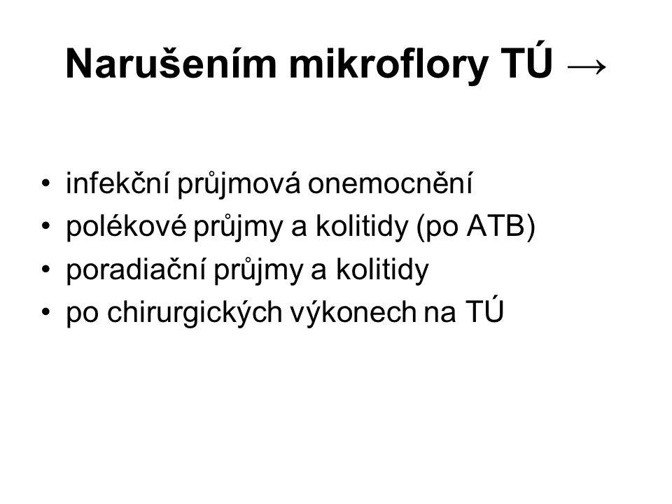 Narušením mikroflory TÚ →