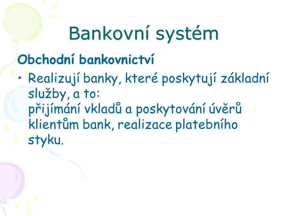 Bankovní systém Obchodní bankovnictví