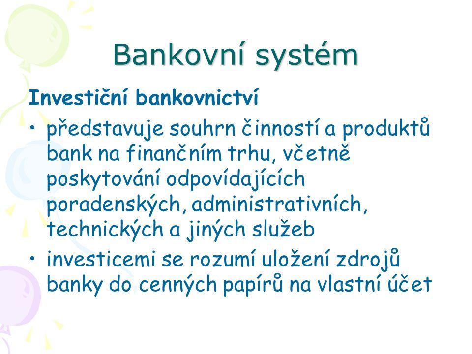 Bankovní systém Investiční bankovnictví