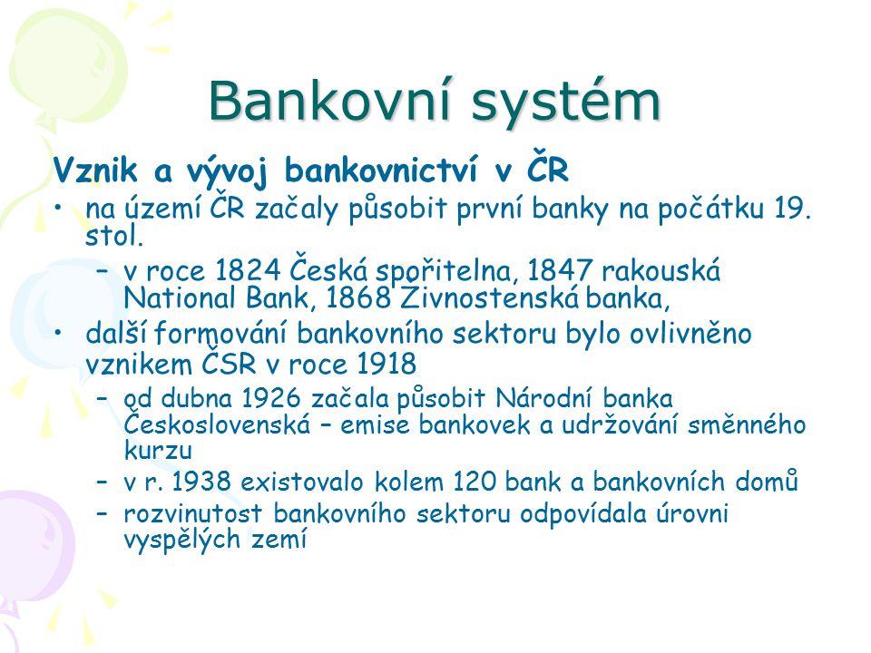 Bankovní systém Vznik a vývoj bankovnictví v ČR