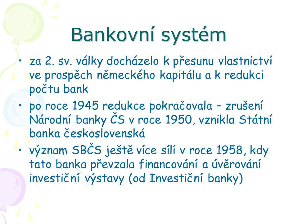 Bankovní systém za 2. sv. války docházelo k přesunu vlastnictví ve prospěch německého kapitálu a k redukci počtu bank.
