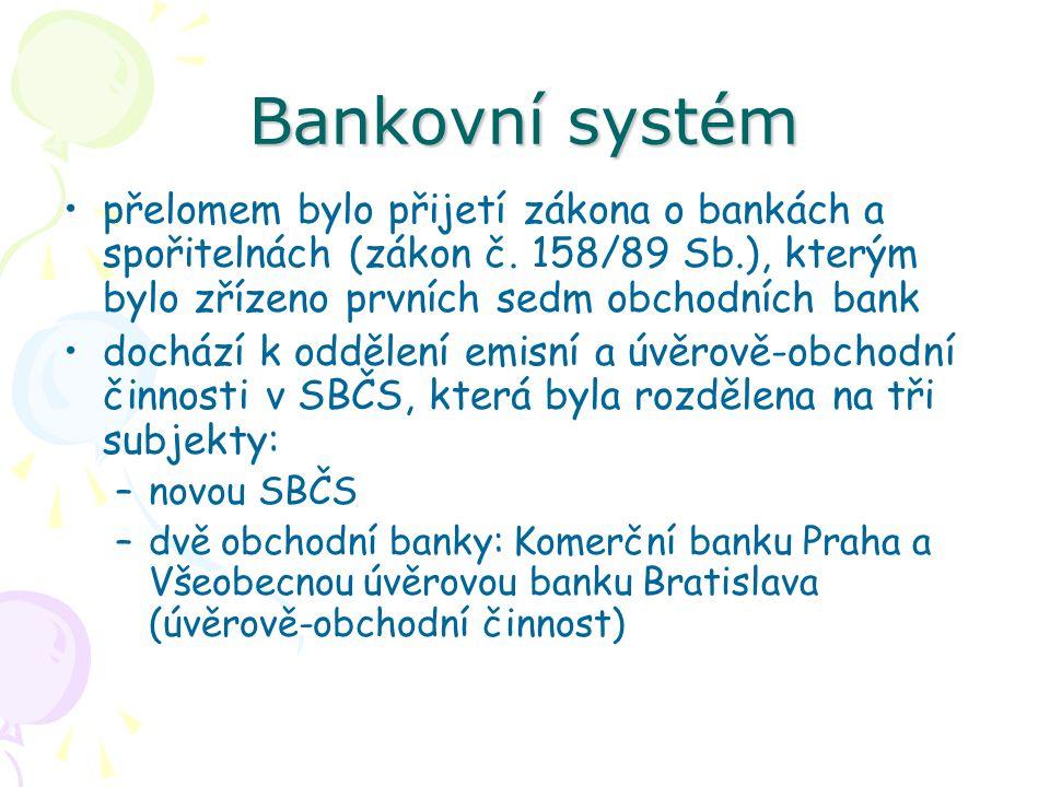 Bankovní systém přelomem bylo přijetí zákona o bankách a spořitelnách (zákon č. 158/89 Sb.), kterým bylo zřízeno prvních sedm obchodních bank.