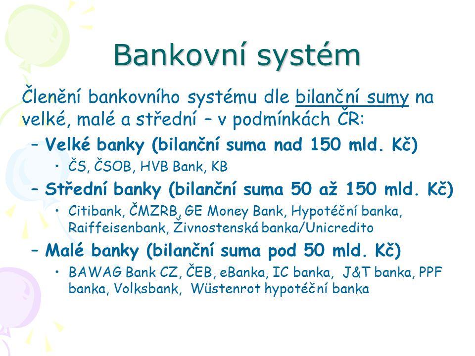 Bankovní systém Členění bankovního systému dle bilanční sumy na velké, malé a střední – v podmínkách ČR: