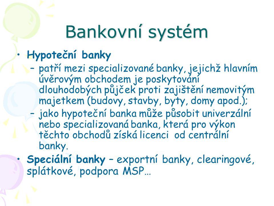 Bankovní systém Hypoteční banky