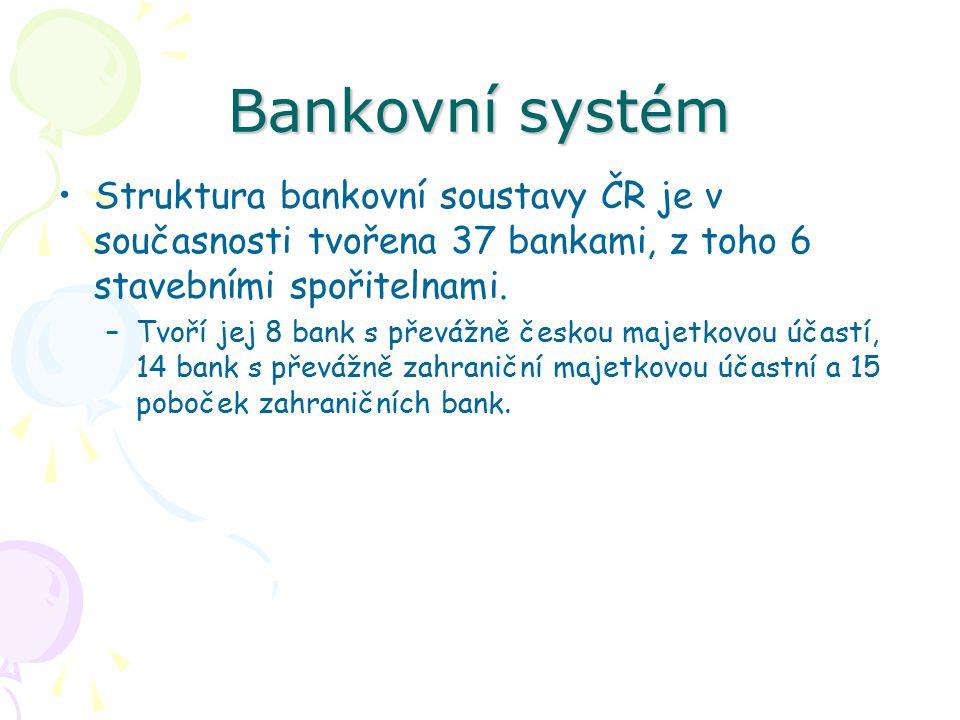 Bankovní systém Struktura bankovní soustavy ČR je v současnosti tvořena 37 bankami, z toho 6 stavebními spořitelnami.