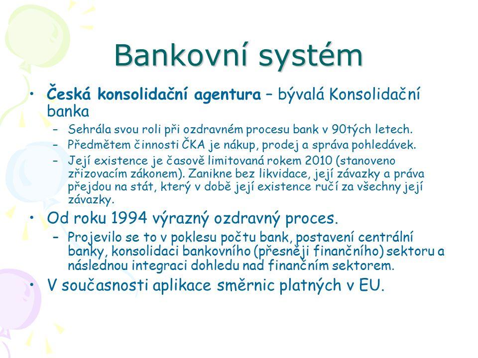 Bankovní systém Česká konsolidační agentura – bývalá Konsolidační banka. Sehrála svou roli při ozdravném procesu bank v 90tých letech.