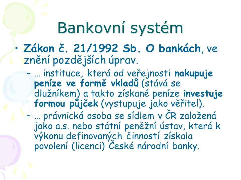 Bankovní systém Zákon č. 21/1992 Sb. O bankách, ve znění pozdějších úprav.