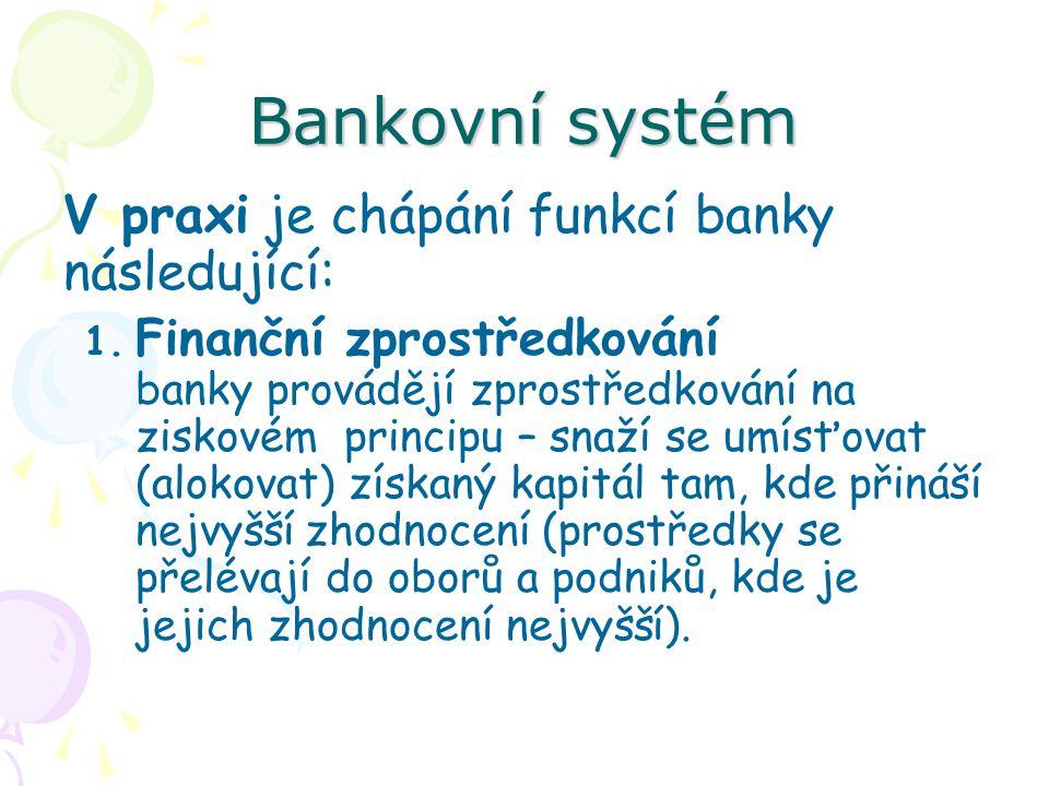 Bankovní systém V praxi je chápání funkcí banky následující: