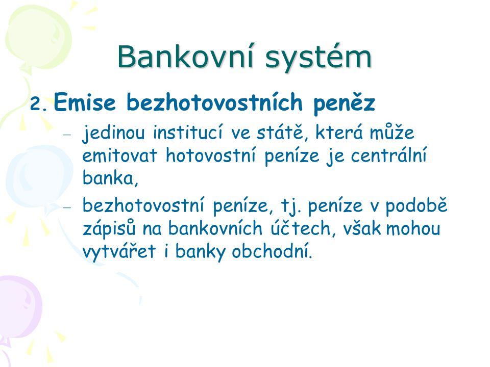 Bankovní systém Emise bezhotovostních peněz