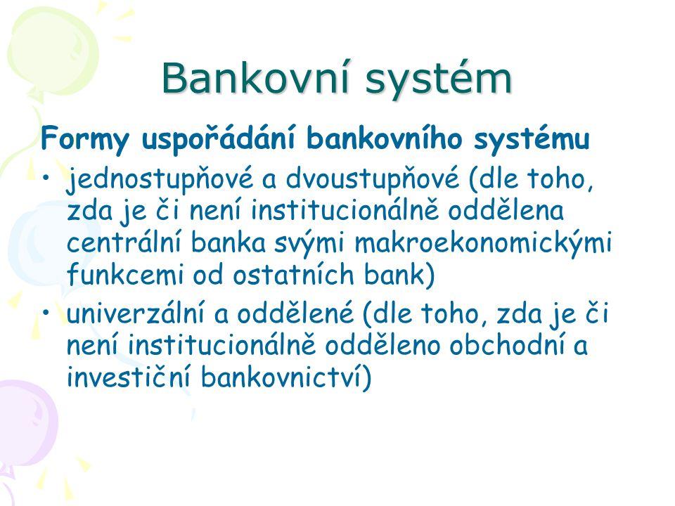 Bankovní systém Formy uspořádání bankovního systému