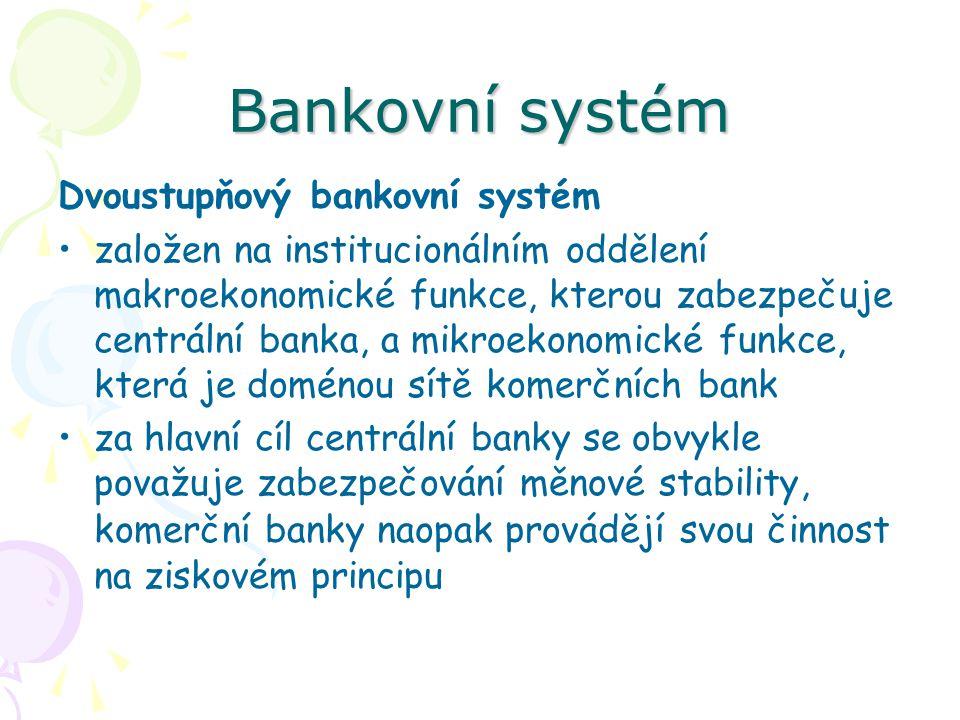 Bankovní systém Dvoustupňový bankovní systém