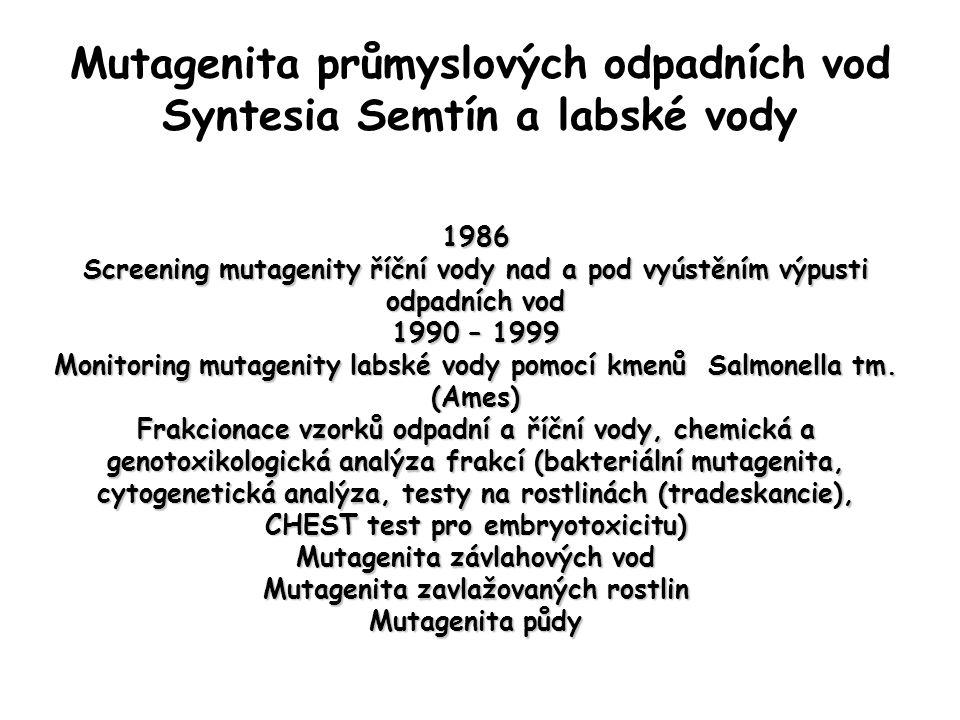 Mutagenita průmyslových odpadních vod Syntesia Semtín a labské vody