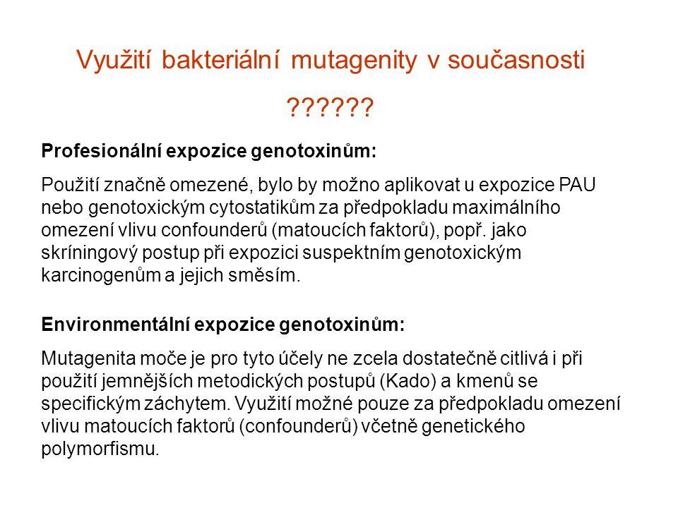 Využití bakteriální mutagenity v současnosti