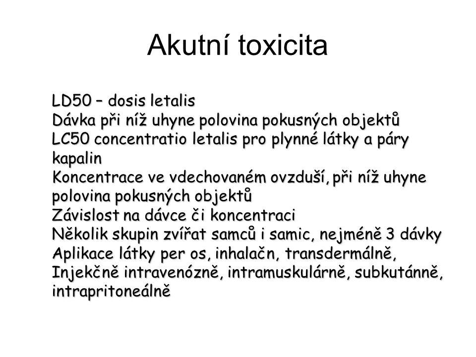 Akutní toxicita LD50 – dosis letalis