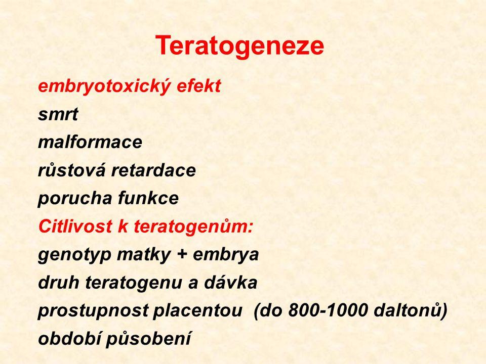 Teratogeneze embryotoxický efekt smrt malformace růstová retardace