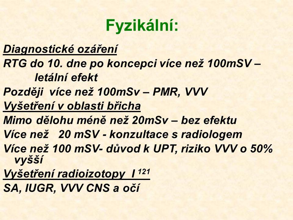 Fyzikální: Diagnostické ozáření