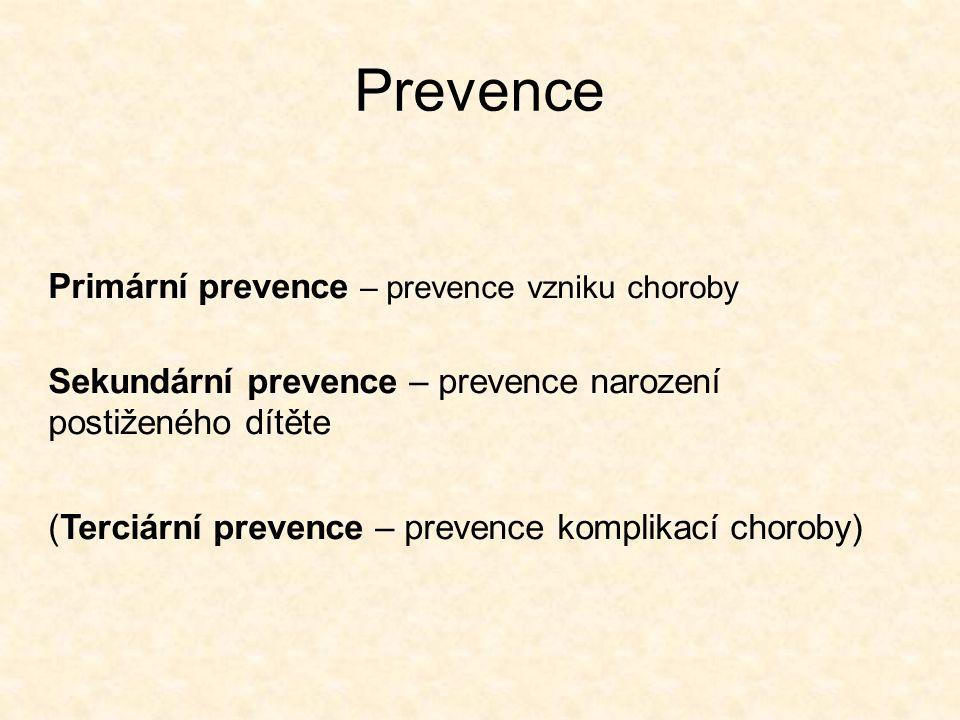 Prevence Primární prevence – prevence vzniku choroby