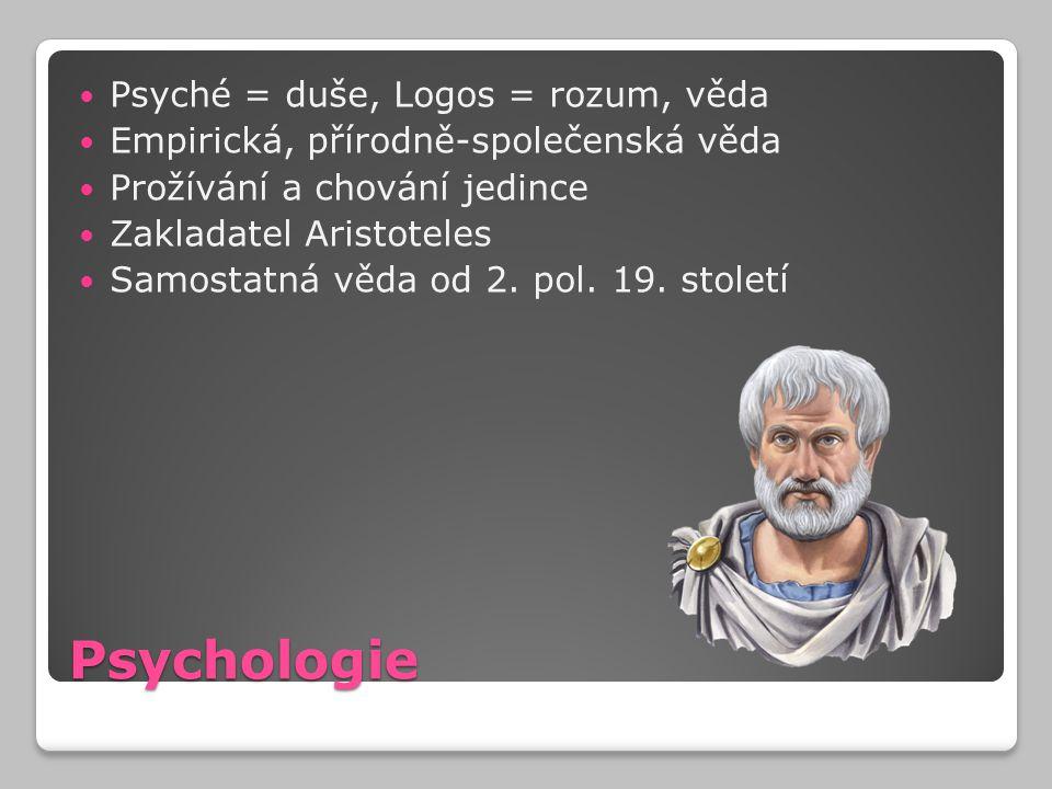 Psychologie Psyché = duše, Logos = rozum, věda