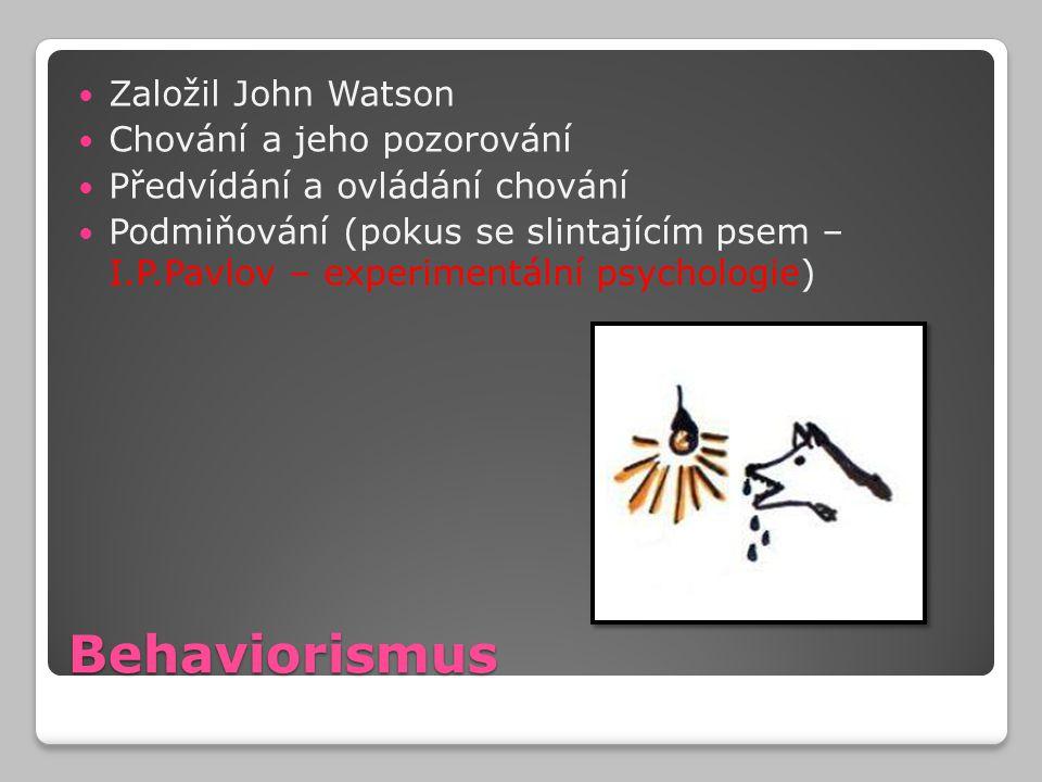 Behaviorismus Založil John Watson Chování a jeho pozorování