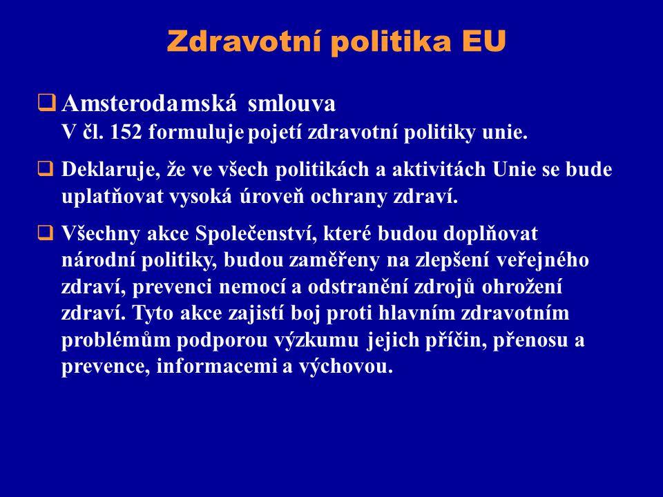 Zdravotní politika EU Amsterodamská smlouva V čl. 152 formuluje pojetí zdravotní politiky unie.