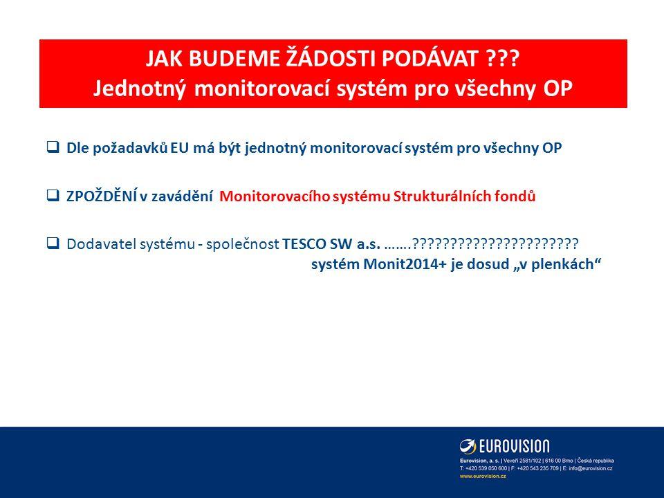 JAK BUDEME ŽÁDOSTI PODÁVAT Jednotný monitorovací systém pro všechny OP