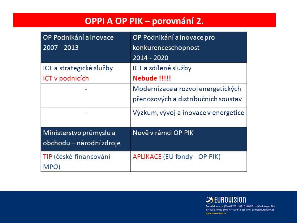 OPPI A OP PIK – porovnání 2.