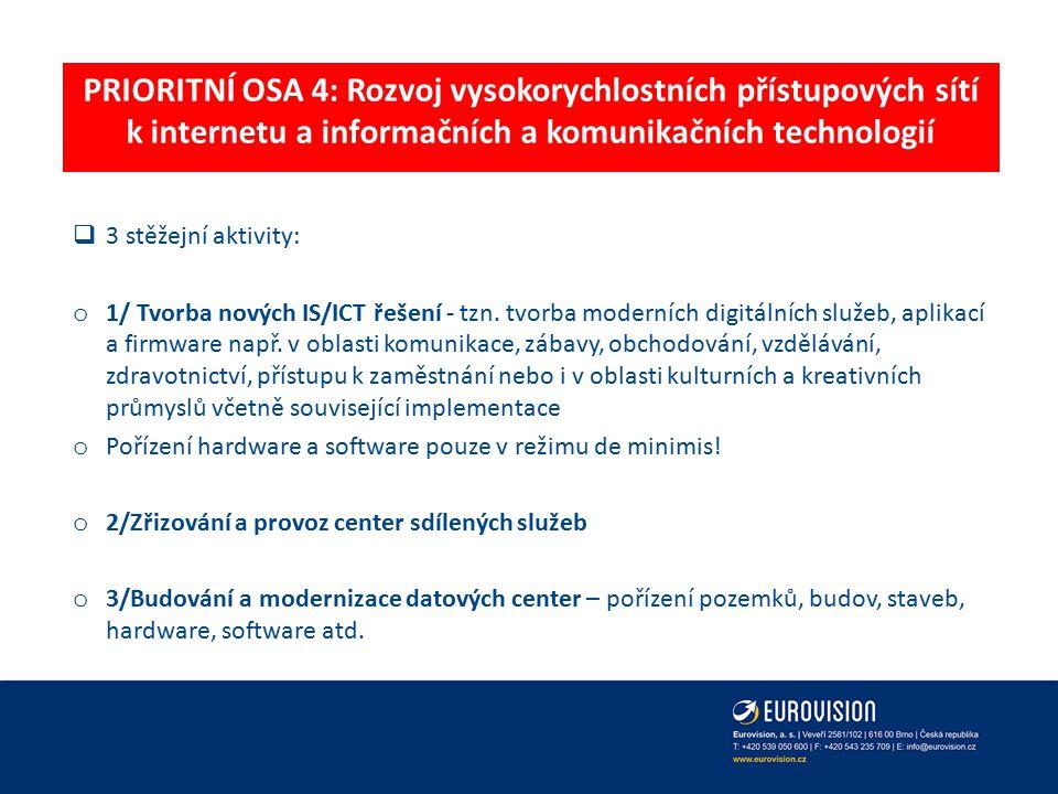 PRIORITNÍ OSA 4: Rozvoj vysokorychlostních přístupových sítí k internetu a informačních a komunikačních technologií