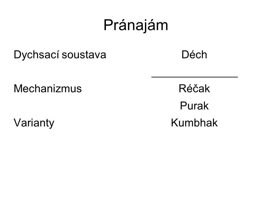 Pránajám Dychsací soustava Mechanizmus Varianty Déch ______________