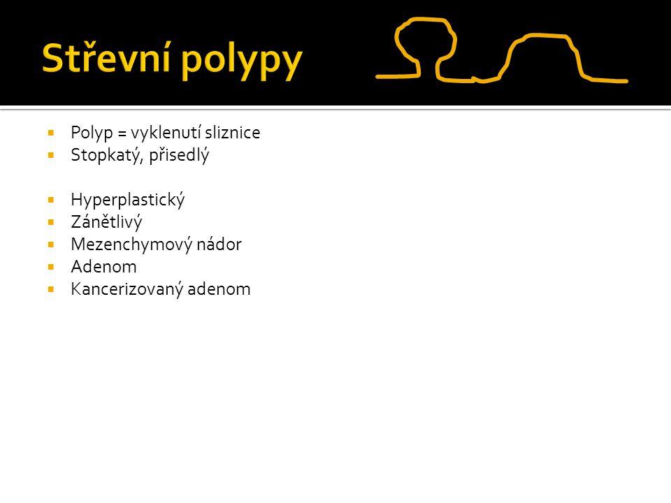 Střevní polypy Polyp = vyklenutí sliznice Stopkatý, přisedlý
