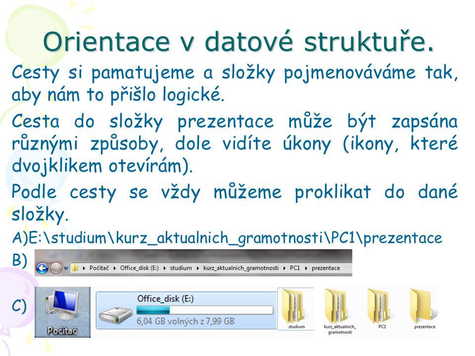 Orientace v datové struktuře.
