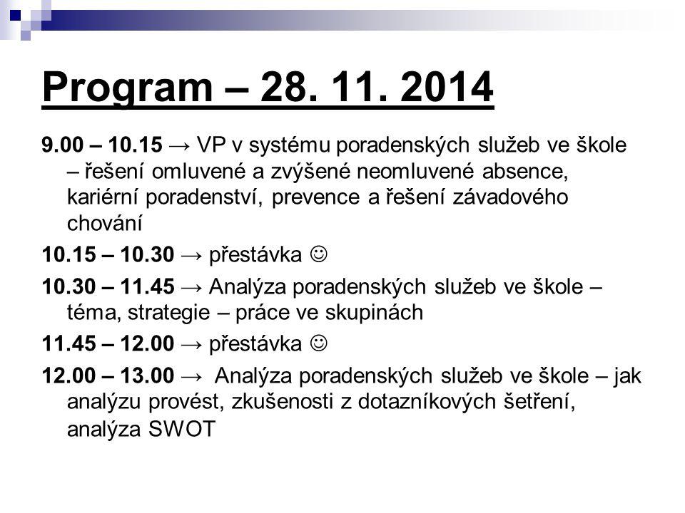 Program – 28. 11. 2014