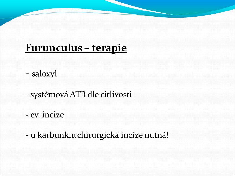 Furunculus – terapie - saloxyl - systémová ATB dle citlivosti