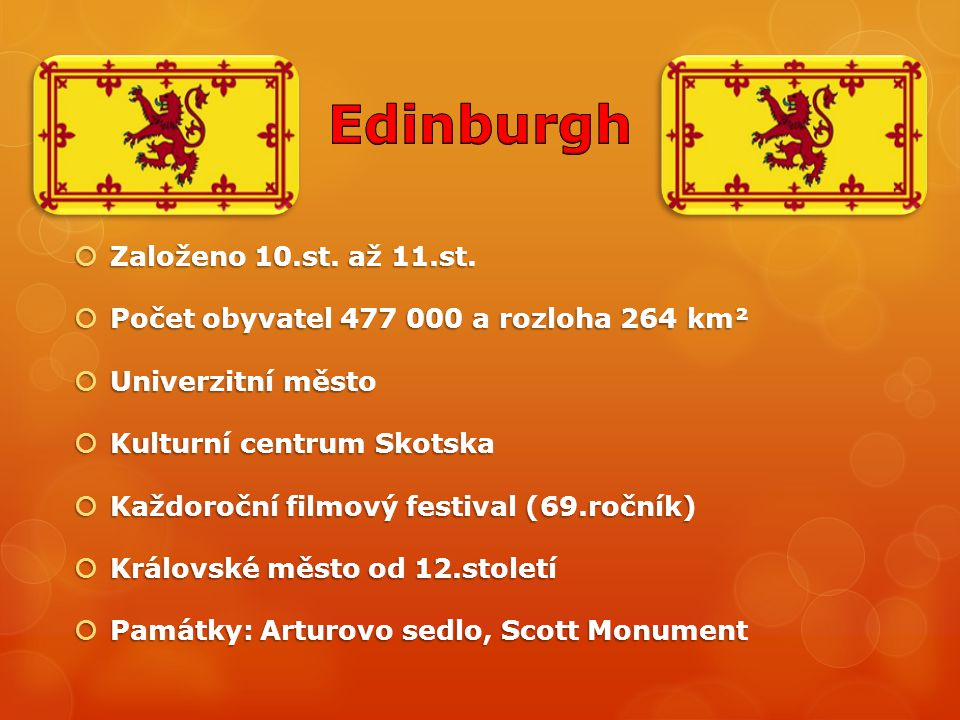 Edinburgh Založeno 10.st. až 11.st.